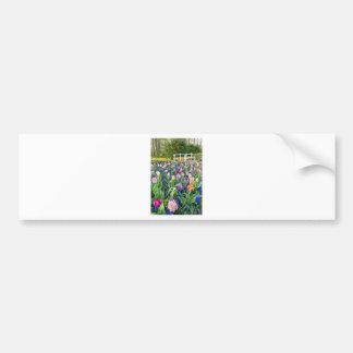 Pegatina Para Coche Campo de flores con los jacintos y el puente de