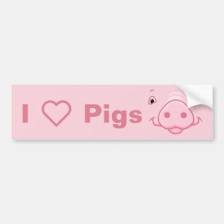 Pegatina Para Coche Cara rosada feliz linda del cerdo