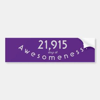 Pegatina Para Coche Celebración de 21.915 días de cumpleaños de