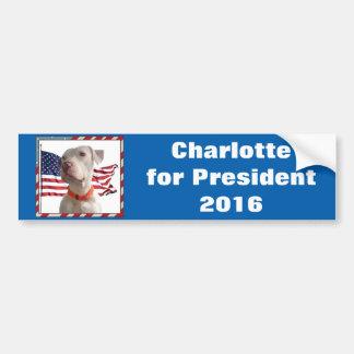Pegatina Para Coche Charlotte para el presidente 2016