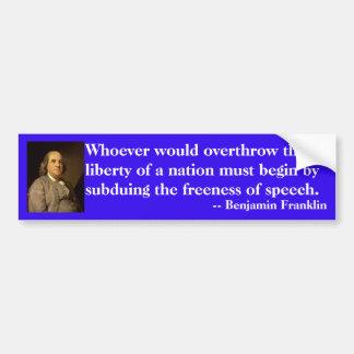 Pegatina Para Coche Cita de Benjamin Franklin en la libertad de
