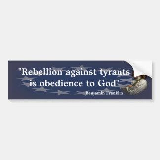 Pegatina Para Coche Cita de Benjamin Franklin en la rebelión