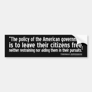 Pegatina Para Coche Cita de Jefferson: La política del gobierno
