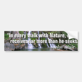 Pegatina Para Coche Cita de John Muir y una cascada hermosa de