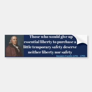 Pegatina Para Coche Cita de la libertad de Ben Franklin