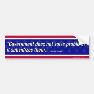 Pegatina Para Coche Cita de Reagan - el gobierno no soluciona