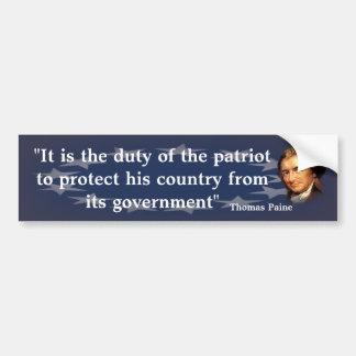 Pegatina Para Coche Cita de Thomas Paine en el deber del patriota