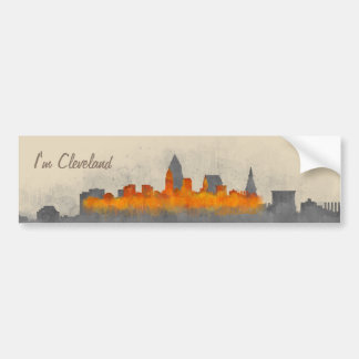 Pegatina Para Coche cleveland city US skyline watercolor v3.1 b/w+colo