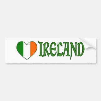 Pegatina Para Coche Corazón irlandés Irlanda de la bandera