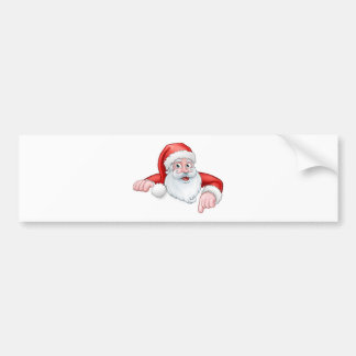 Pegatina Para Coche Dibujo animado de Santa que señala abajo de detrás