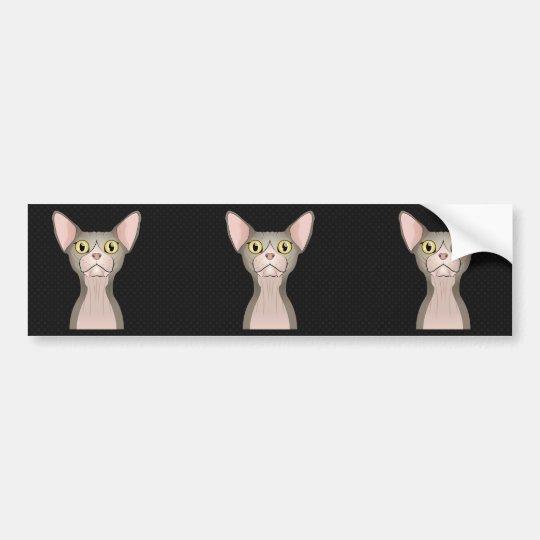 Pegatina Para Coche Dibujo animado del gato de Sphynx (bicolor)
