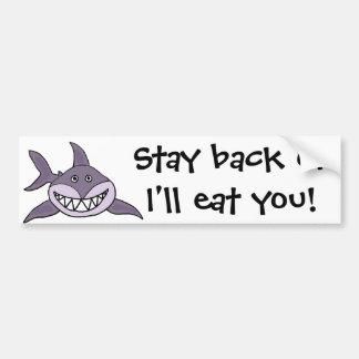 Pegatina Para Coche Dibujo animado gris de mueca divertido del tiburón