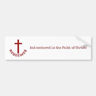 Pegatina Para Coche Diseño redimido cristiano de la Cruz Roja y del