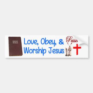 Pegatina Para Coche El amor, obedece y adora a Jesús