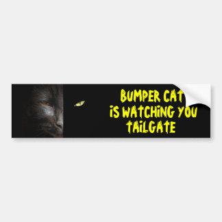 Pegatina Para Coche El gato de parachoques le está mirando la puerta
