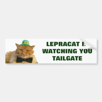 Pegatina Para Coche El gato del Leprechaun le está mirando puerta