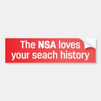 Pegatina Para Coche El NSA ama su historia de la búsqueda