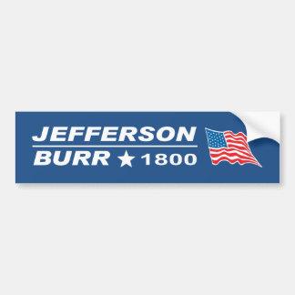 Pegatina Para Coche Elección 1800 de las rebabas de Thomas Jefferson -