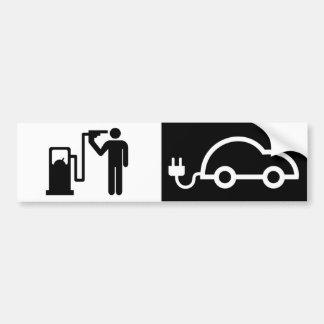 Pegatina Para Coche Electricidad contra surtidor de gasolina del