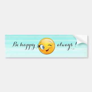 Pegatina Para Coche Emoji sonriente de guiño adorable Cara-Es feliz
