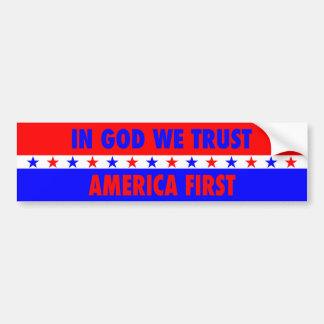 Pegatina Para Coche En dios confiamos en, América primero