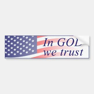 Pegatina Para Coche En dios confiamos en la bandera americana