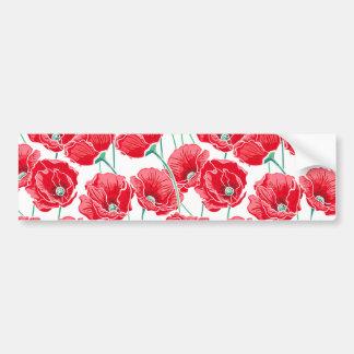 Pegatina Para Coche Estampado de flores rojo del campo de la amapola