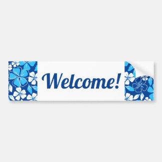 Pegatina Para Coche Flores azules y blancas