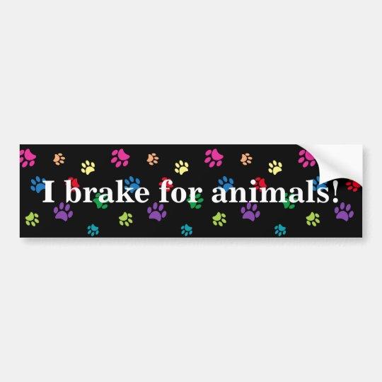 "Pegatina Para Coche ""Freno para los animales!"" Patas pintadas arco"