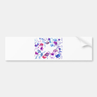 Pegatina Para Coche Frontera púrpura de la flor de la acuarela
