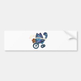 Pegatina Para Coche gato cósmico en la bici