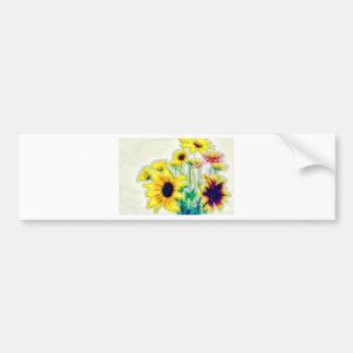 Pegatina Para Coche Girasol del verano y ramo de Strawflower