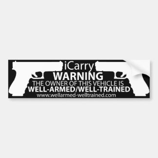Pegatina Para Coche iCarry/armó y entrenó - al parachoque Sticker2