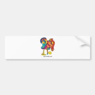 Pegatina Para Coche ilustracion colorido de los amigos felices impares