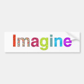 Pegatina Para Coche Imagínese la tarjeta colorida de la inspiración de