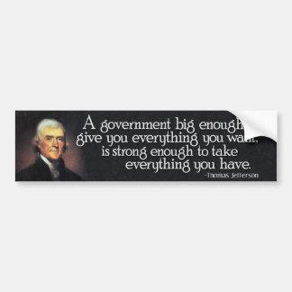 Pegatina Para Coche Jefferson: Guárdese del gobierno grande