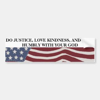 Pegatina Para Coche Justicia, amabilidad, y humildad