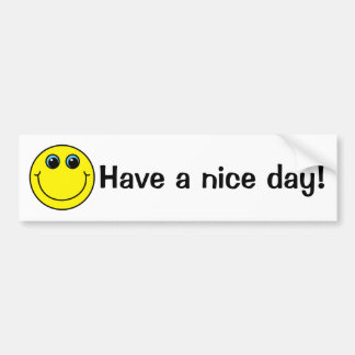 Pegatina Para Coche La cara sonriente amarilla tiene un día agradable