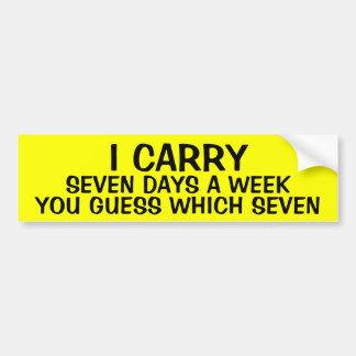 Pegatina Para Coche LLEVO 7 días a la semana