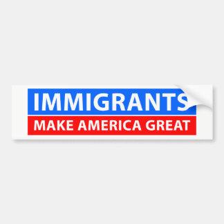 Pegatina Para Coche Los inmigrantes hacen América grande