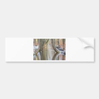 Pegatina Para Coche Los troncos y el bosque de árbol fluyen con nieve