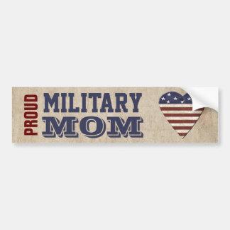 Pegatina Para Coche Mamá militar orgullosa con el corazón patriótico