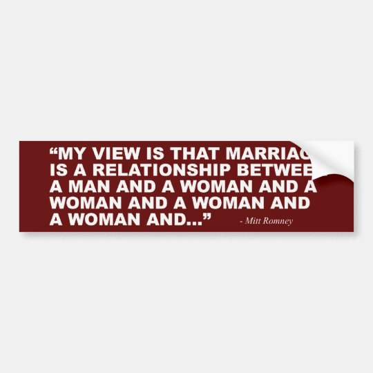 Pegatina Para Coche Mitt Romney en matrimonio homosexual