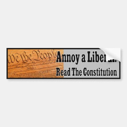 Pegatina Para Coche Moleste a un liberal - lea la constitución