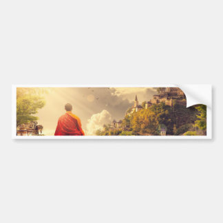 Pegatina Para Coche Monje Meditating antes del templo grande