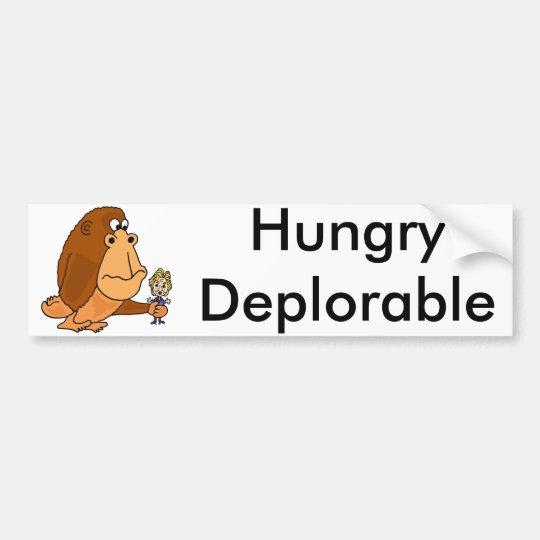 Pegatina Para Coche Mono deplorable hambriento divertido con Hillary