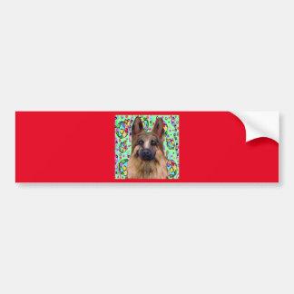 Pegatina Para Coche Navidad del pastor alemán