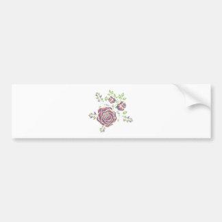 Pegatina Para Coche Ornamento color de rosa púrpura del bordado