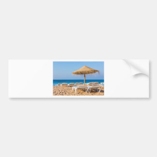 Pegatina Para Coche Parasol de mimbre con la playa beds.JPG