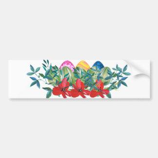 Pegatina Para Coche Pascua, flor, huevos, acuarela